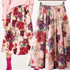 Zara Vintage floral print cotton midi skirt S EUC
